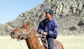 Тувинец на лошади