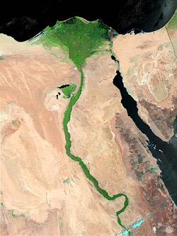 Вид реки Нил из космоса