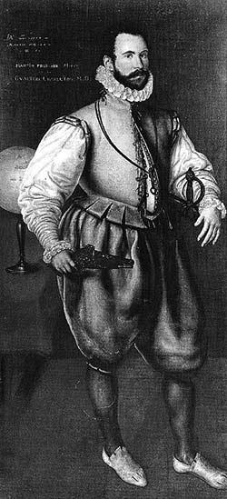 Мартин Фробишер  (1535 – 1594),  один из ярких представителей когорты  «морских волков»  королевы Елизаветы.   По примеру своего коллеги Дрейка – охотился, и удачно, за сокровищами в трюмах испанских кораблей, идущих из Нового Света на родину. Умер от смертельного ранения у берегов Франции