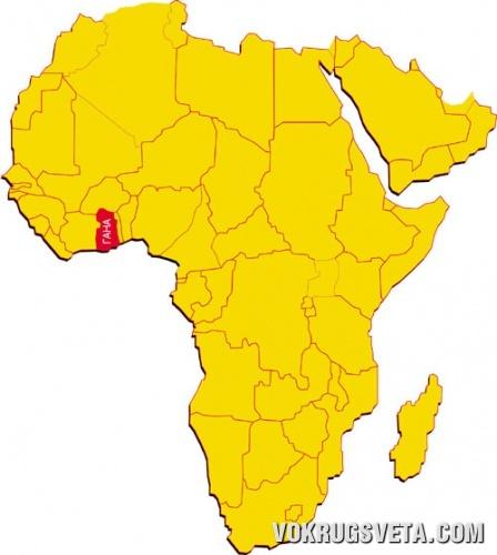 Гана на карте Африки