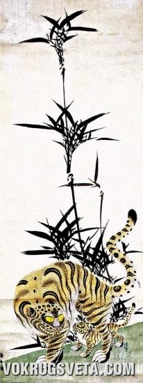 Тигр с тигренком под бамбуком. XIX в.