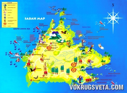 Карта острова Борнео