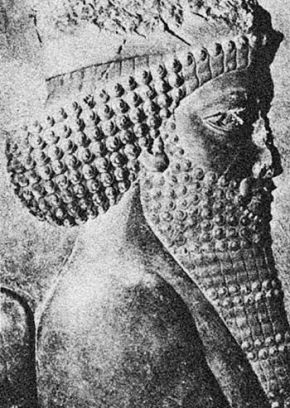 Барельефное изображение «царя царей» Дария во Дворце сокровищ в Персеполисе
